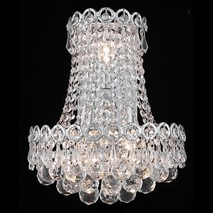 "Century Collection 3-Light 12"" Chrome Wall Sconce with Clear  Swarovski Strass Crystal 1901W12SC/SS"