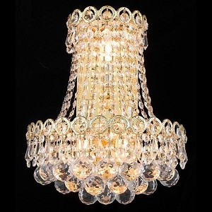 "Century Collection 3-Light 12"" Gold Wall Sconce with Clear  Swarovski Strass Crystal 1901W12SG/SS"