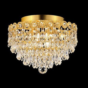 "Century Collection 4-Light 12"" Gold Flush Mount with Clear Elegant Cut Crystal 1902F12G/EC"