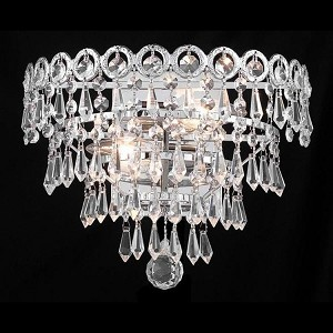 "Century Collection 2-Light 12"" Chrome Wall Sconce with Clear Swarovski Spectra Crystal 1902W12C/SA"