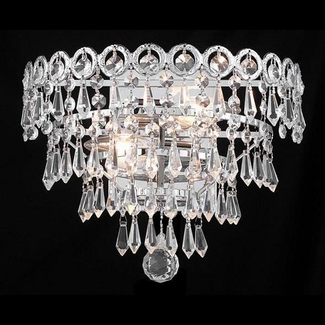 "Century Collection 2-Light 12"" Chrome Wall Sconce with Clear  Swarovski Strass Crystal 1902W12C/SS"