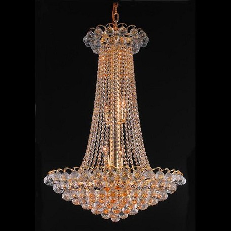 "Godiva Collection 15-Light 27"" Gold Chandelier with Clear Swarovski Spectra Crystal 2001D27G/SA"