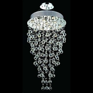 "Galaxy Collection 9-Light 20"" Chrome Semi Flush Mount with Clear Royal Cut Crystal 2006D20C/RC(LED)"