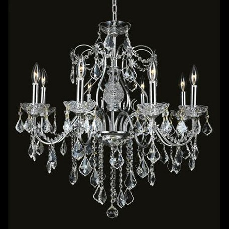 "St. Francis Collection 8-Light 26"" Chrome Chandelier with Clear Elegant Cut Crystal 2015D26C/EC"