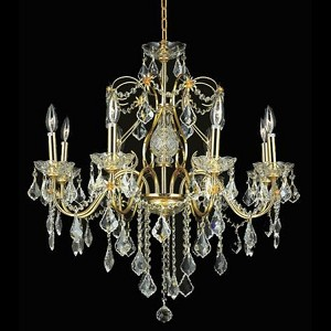 "St. Francis Collection 8-Light 26"" Gold Chandelier with Clear  Swarovski Strass Crystal 2015D26G/SS"