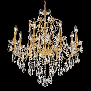 "St. Francis Collection 8-Light 26"" Gold Chandelier with Clear Swarovski Spectra Crystal 2016D26G/SA"