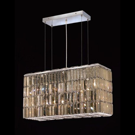 "Maxim Collection 8-Light 9"" Chrome Island Light with Golden Teak Smoky Swarovski Strass Crystal 2018D26C-GT/SS"