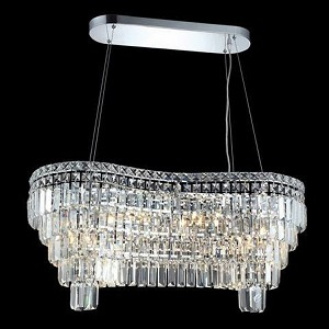 "Maxim Collection 14-Light 16"" Chrome Island Light with Clear  Swarovski Strass Crystal 2019D32C/SS"