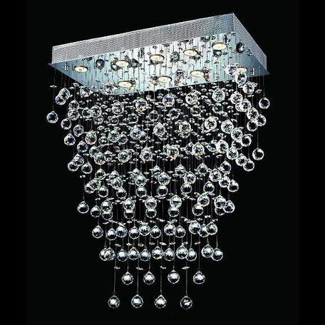 "Galaxy Collection 10-Light 16"" Chrome Flush Mount with Clear  Swarovski Strass Crystal 2021D28C/SS(LED)"