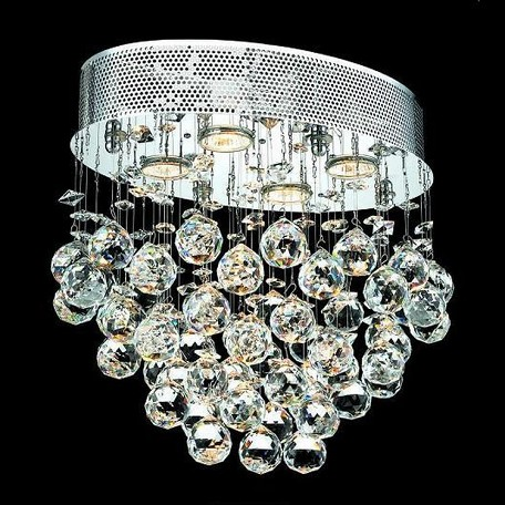 "Galaxy Collection 4-Light 11"" Chrome Flush Mount with Clear  Swarovski Strass Crystal 2022F16C/SS"