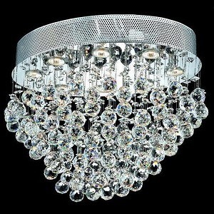 "Galaxy Collection 8-Light 16"" Chrome Flush Mount with Clear  Swarovski Strass Crystal 2022F24C/SS"