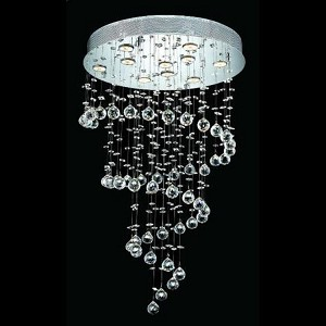 "Galaxy Collection 10-Light 24"" Chrome Flush Mount with Clear Elegant Cut Crystal 2024D24C/EC"