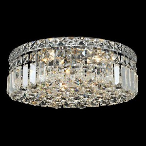 "Maxim Collection 4-Light 14"" Chrome Flush Mount with Clear  Swarovski Strass Crystal 2030F14C/SS"