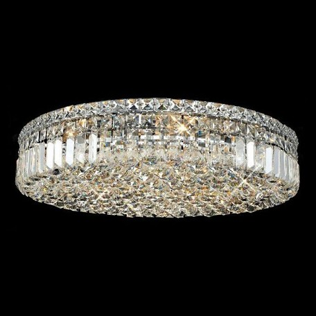 "Maxim Collection 9-Light 24"" Chrome Flush Mount with Clear Swarovski Spectra Crystal 2030F24C/SA"
