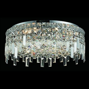 "Maxim Collection 6-Light 20"" Chrome Flush Mount with Clear  Swarovski Strass Crystal 2031F20C/SS"