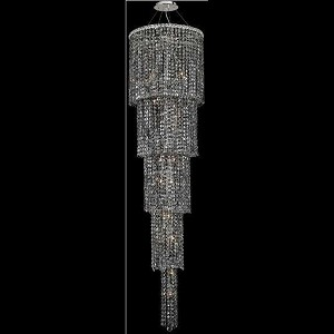 "Maxim Collection 22-Light 22"" Chrome Chandelier with Silver Shade Grey Royal Cut Crystal 2031G80C-SS/RC"