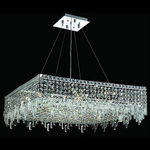 "Maxim Collection 12-Light 32"" Chrome Pendant with Clear Swarovski Spectra Crystal 2033D32C/SA"