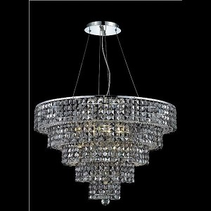 "Maxim Collection 17-Light 30"" Chrome Chandelier with Silver Shade Grey Royal Cut Crystal 2037D30C-SS/RC"