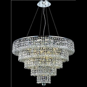"Maxim Collection 17-Light 30"" Chrome Chandelier with Clear Elegant Cut Crystal 2037D30C/EC"