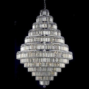 "Maxim Collection 38-Light 42"" Chrome Chandelier with Golden Teak Smoky Royal Cut Crystal 2038G42C-GT/RC"