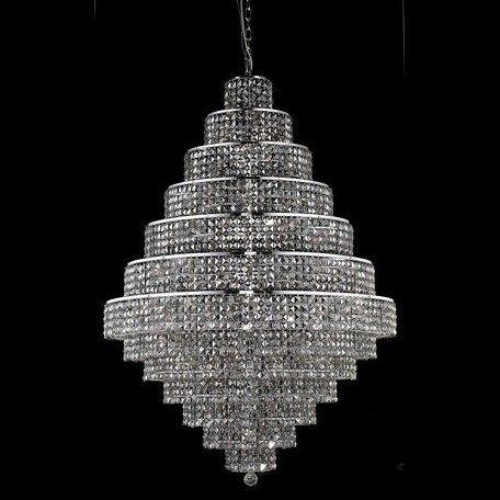 "Maxim Collection 38-Light 42"" Chrome Chandelier with Silver Shade Grey Swarovski Strass Crystal 2039G42C-SS/SS"