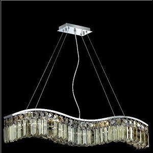 "Contour Collection 6-Light 5"" Chrome Island Light with Golden Teak Smoky Swarovski Strass Crystal 2040D30C-GT/SS"