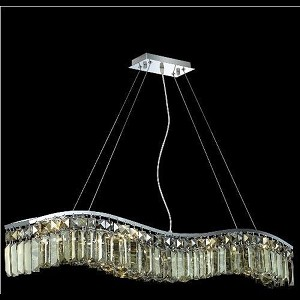 "Contour Collection 8-Light 5"" Chrome Island Light with Golden Teak Smoky Swarovski Strass Crystal 2040D36C-GT/SS"