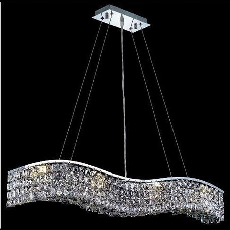 "Contour Collection 8-Light 5"" Chrome Island Light with Clear Elegant Cut Crystal 2041D36C/EC"