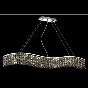 "Contour Collection 10-Light 5"" Chrome Island Light with Golden Teak Smoky Swarovski Strass Crystal 2041D44C-GT/SS"