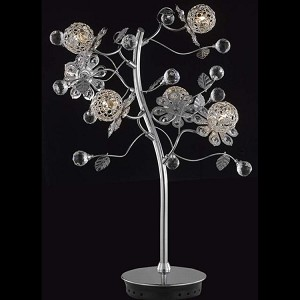 "Iris Collection 6-Light 27"" Chrome Table Lamp with Clear Elegant Cut Crystal 2073TL18C/EC"