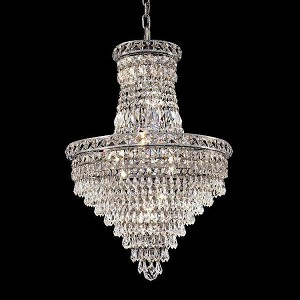 "Tranquil Collection 12-Light 18"" Chrome Chandelier with Clear Elegant Cut Crystal 2526D18C/EC"
