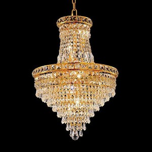 "Tranquil Collection 12-Light 18"" Gold Chandelier with Clear Elegant Cut Crystal 2526D18G/EC"