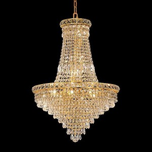 "Tranquil Collection 22-Light 22"" Gold Chandelier with Clear Swarovski Spectra Crystal 2526D22G/SA"