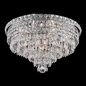 "Tranquil Collection 8-Light 18"" Chrome Flush Mount with Clear  Swarovski Strass Crystal 2526F18C/SS"