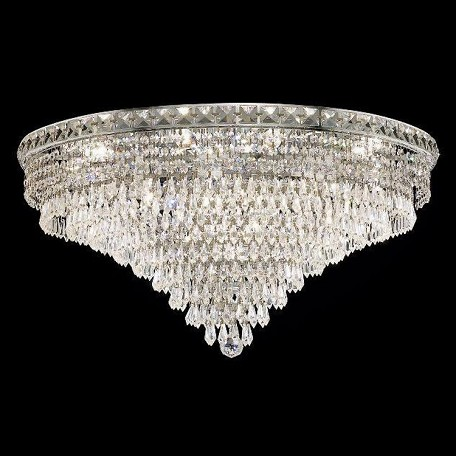 "Tranquil Collection 18-Light 30"" Chrome Flush Mount with Clear  Swarovski Strass Crystal 2526F30C/SS"