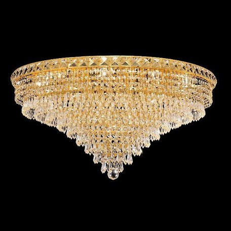 "Tranquil Collection 18-Light 30"" Gold Flush Mount with Clear  Swarovski Strass Crystal 2526F30G/SS"