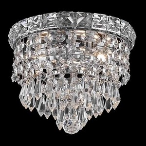 "Tranquil Collection 2-Light 8"" Chrome Flush Mount with Clear Elegant Cut Crystal 2526F8C/EC"