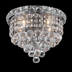 "Tranquil Collection 4-Light 10"" Chrome Flush Mount with Clear  Swarovski Strass Crystal 2527F10C/SS"