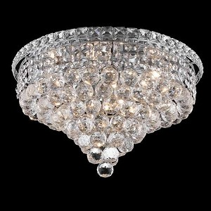 "Tranquil Collection 8-Light 18"" Chrome Flush Mount with Clear  Swarovski Strass Crystal 2527F18C/SS"