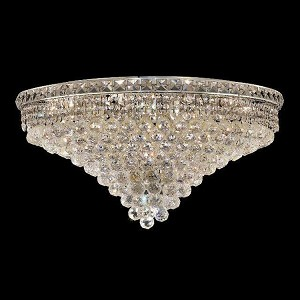 "Tranquil Collection 18-Light 30"" Chrome Flush Mount with Clear Elegant Cut Crystal 2527F30C/EC"