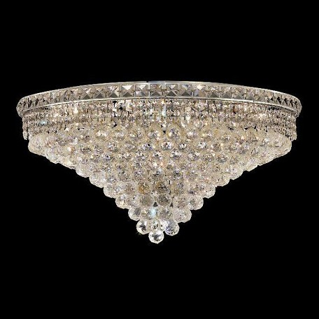 "Tranquil Collection 18-Light 30"" Chrome Flush Mount with Clear Swarovski Spectra Crystal 2527F30C/SA"