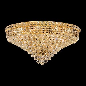 "Tranquil Collection 18-Light 30"" Gold Flush Mount with Clear Swarovski Spectra Crystal 2527F30G/SA"