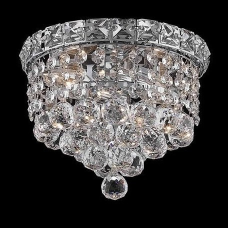 "Tranquil Collection 2-Light 8"" Chrome Flush Mount with Clear  Swarovski Strass Crystal 2527F8C/SS"