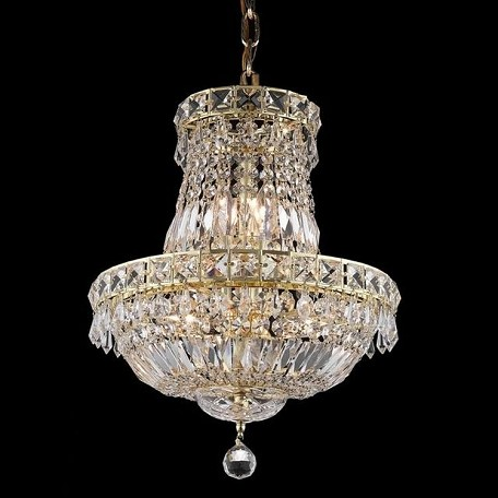 "Tranquil Collection 6-Light 14"" Gold Chandelier with Clear Elegant Cut Crystal 2528D14G/EC"