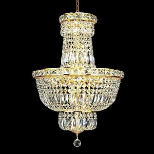 "Tranquil Collection 12-Light 18"" Gold Chandelier with Clear Elegant Cut Crystal 2528D18G/EC"