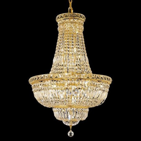 "Tranquil Collection 22-Light 22"" Gold Chandelier with Clear Swarovski Spectra Crystal 2528D22G/SA"