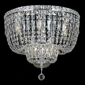 "Tranquil Collection 10-Light 20"" Chrome Flush Mount with Clear  Swarovski Strass Crystal 2528F20C/SS"