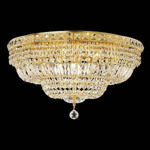 "Tranquil Collection 12-Light 24"" Gold Flush Mount with Clear Elegant Cut Crystal 2528F24G/EC"