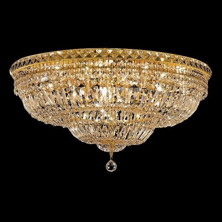 "Tranquil Collection 18-Light 30"" Gold Flush Mount with Clear  Swarovski Strass Crystal 2528F30G/SS"