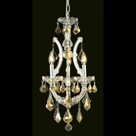 "Maria Theresa Collection 4-Light 12"" Chrome Mini Chandelier with Golden Teak Smoky Swarovski Strass Crystal 2800D12C-GT/SS"